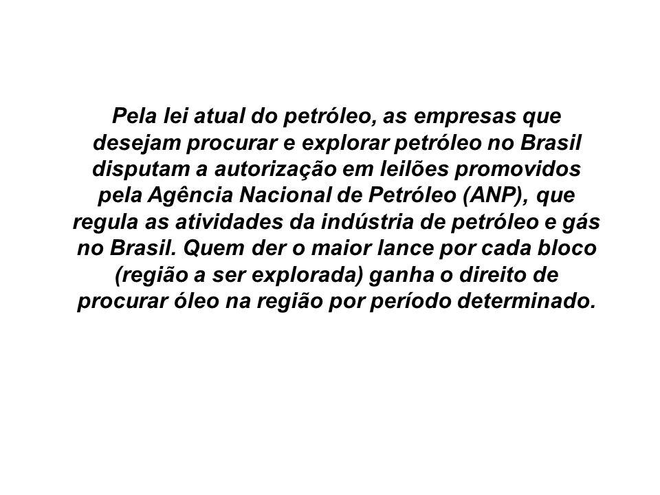 Pela lei atual do petróleo, as empresas que desejam procurar e explorar petróleo no Brasil disputam a autorização em leilões promovidos pela Agência Nacional de Petróleo (ANP), que regula as atividades da indústria de petróleo e gás no Brasil.