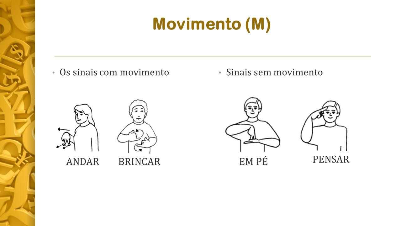 Movimento (M) PENSAR ANDAR BRINCAR EM PÉ Os sinais com movimento