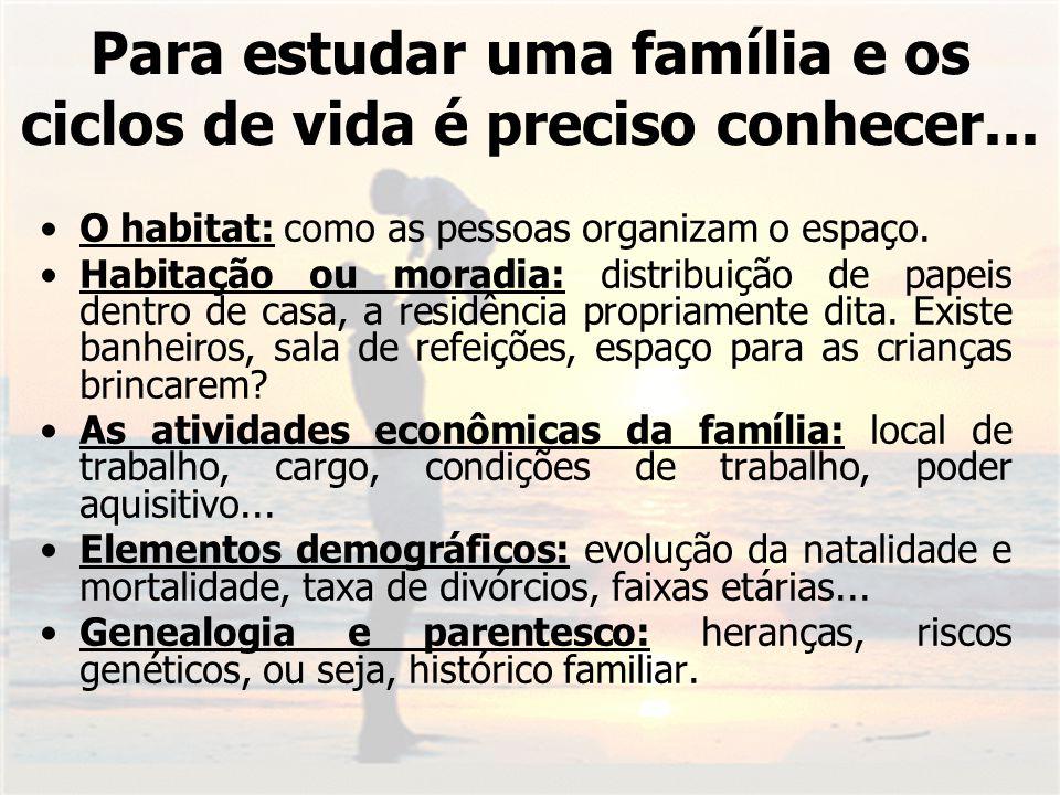 Para estudar uma família e os ciclos de vida é preciso conhecer...
