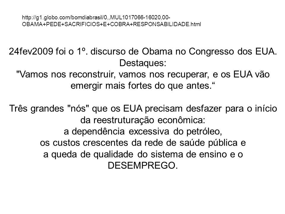 24fev2009 foi o 1º. discurso de Obama no Congresso dos EUA. Destaques: