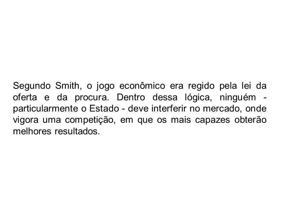 Segundo Smith, o jogo econômico era regido pela lei da oferta e da procura.