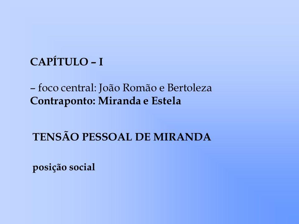 – foco central: João Romão e Bertoleza Contraponto: Miranda e Estela