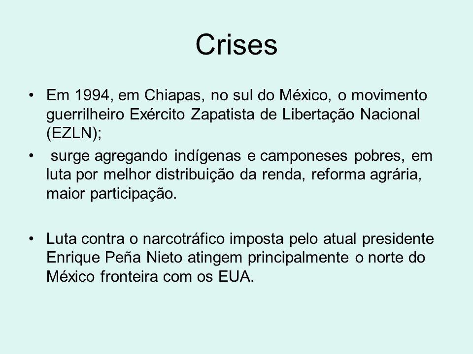 Crises Em 1994, em Chiapas, no sul do México, o movimento guerrilheiro Exército Zapatista de Libertação Nacional (EZLN);