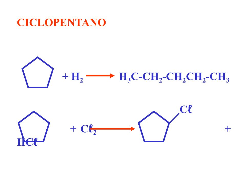 CICLOPENTANO + H2 H3C-CH2-CH2CH2-CH3. Cℓ.