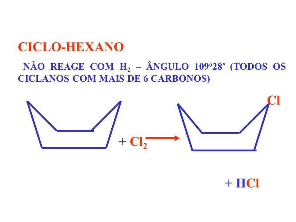 CICLO-HEXANO. NÃO REAGE COM H2 – ÂNGULO 109o28' (TODOS OS CICLANOS COM MAIS DE 6 CARBONOS) Cl.