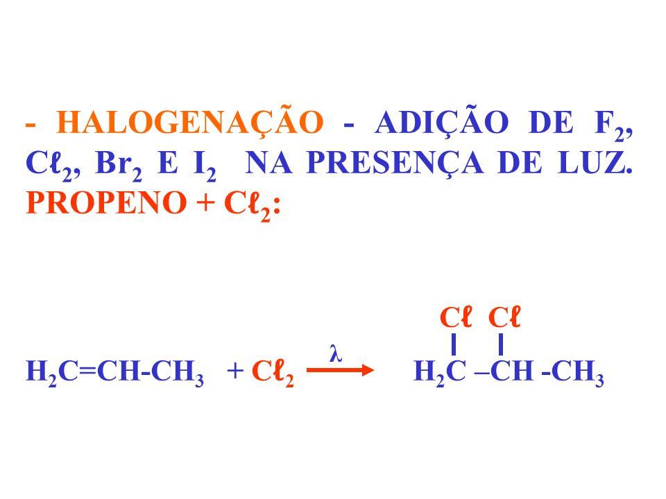 - HALOGENAÇÃO - ADIÇÃO DE F2, Cℓ2, Br2 E I2 NA PRESENÇA DE LUZ
