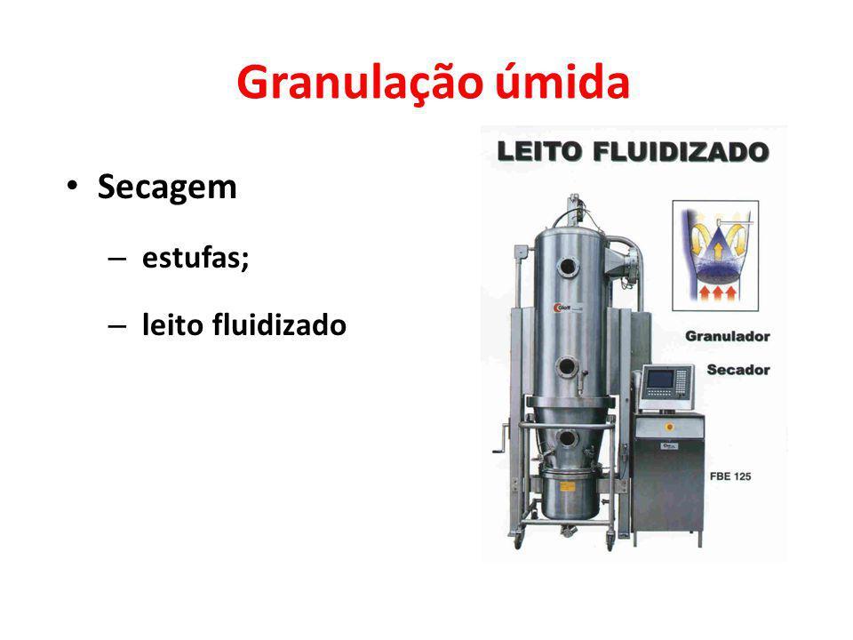 Granulação úmida Secagem estufas; leito fluidizado