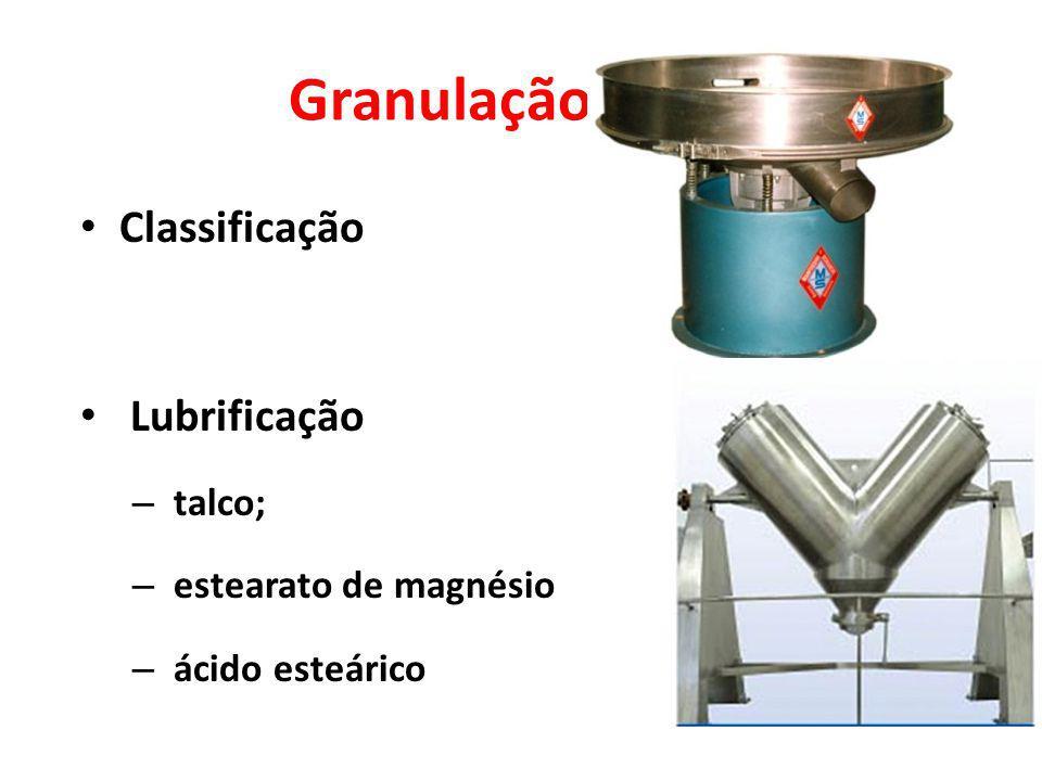Granulação úmida Classificação Lubrificação talco;