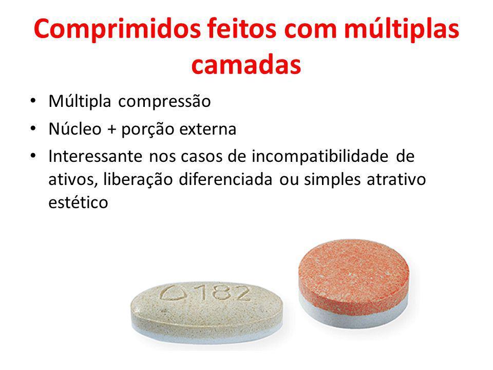 Comprimidos feitos com múltiplas camadas