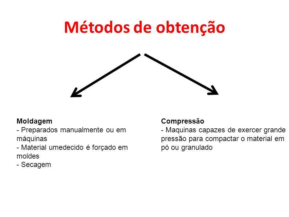 Métodos de obtenção Moldagem Preparados manualmente ou em máquinas