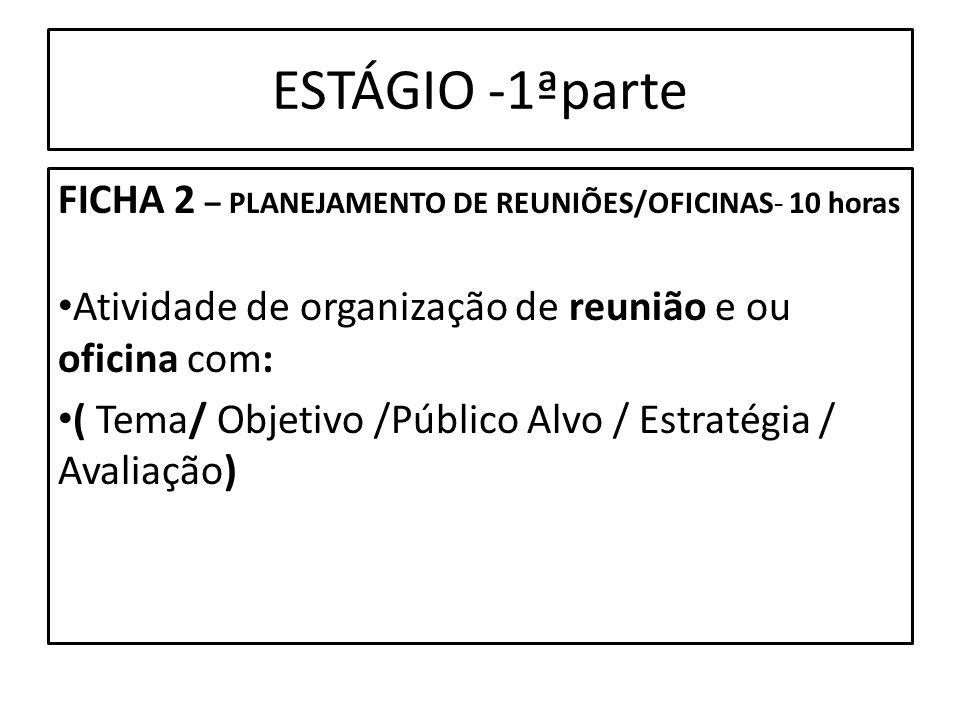 ESTÁGIO -1ªparte FICHA 2 – PLANEJAMENTO DE REUNIÕES/OFICINAS- 10 horas