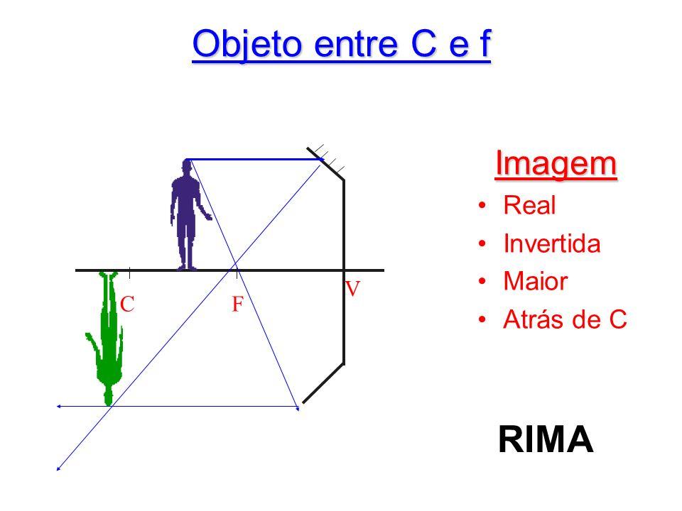 Objeto entre C e f Imagem Real Invertida Maior Atrás de C C F V RIMA
