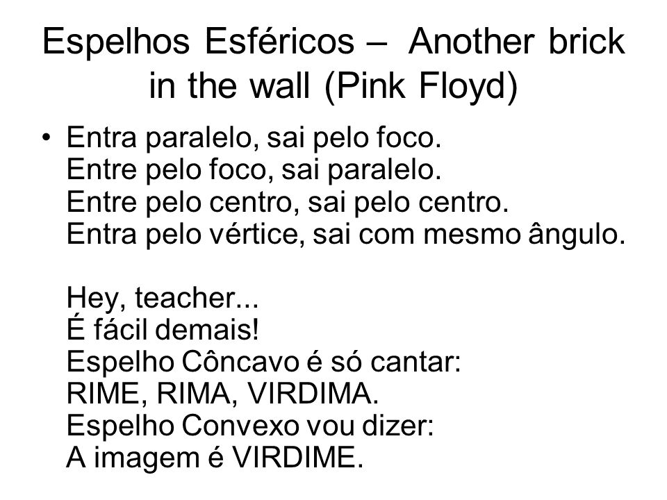 Espelhos Esféricos – Another brick in the wall (Pink Floyd)