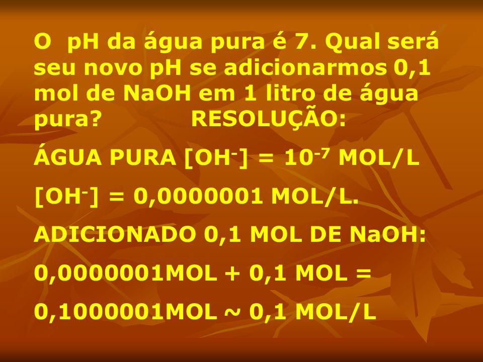 O pH da água pura é 7. Qual será seu novo pH se adicionarmos 0,1 mol de NaOH em 1 litro de água pura RESOLUÇÃO:
