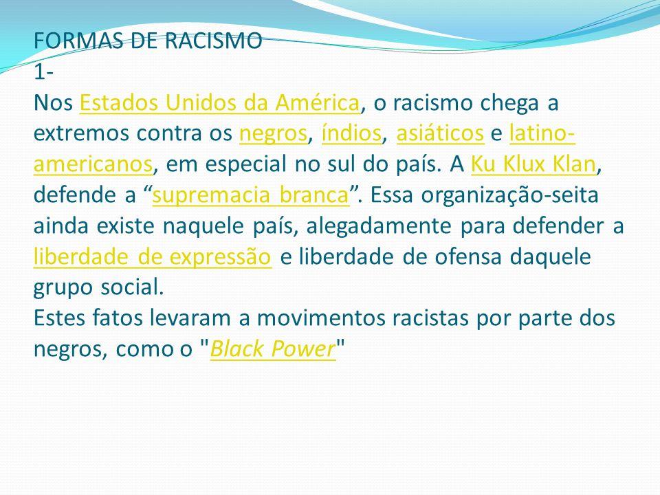FORMAS DE RACISMO 1- Nos Estados Unidos da América, o racismo chega a extremos contra os negros, índios, asiáticos e latino-americanos, em especial no sul do país.