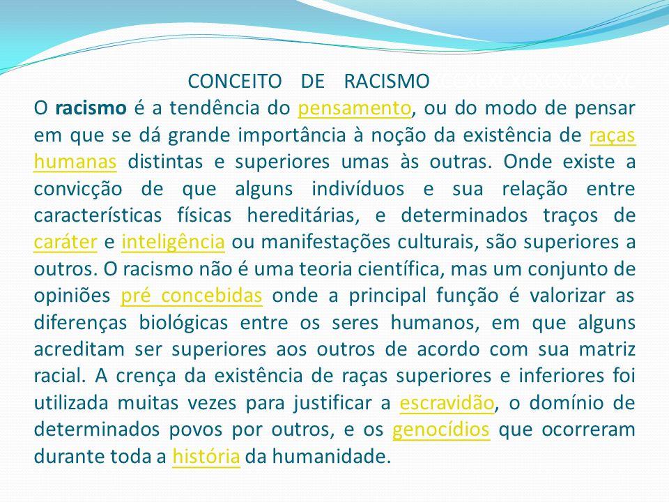 CONCEITO DE RACISMOXCCXCXCXCXCXCXCCXC O racismo é a tendência do pensamento, ou do modo de pensar em que se dá grande importância à noção da existência de raças humanas distintas e superiores umas às outras.