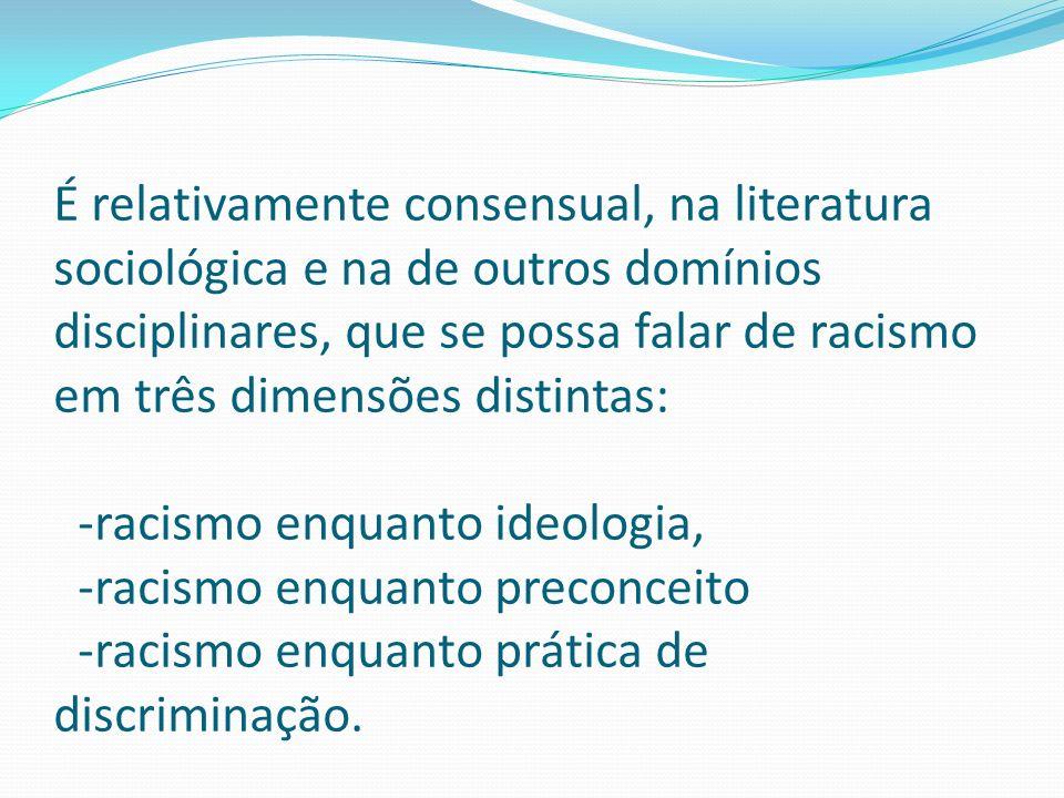É relativamente consensual, na literatura sociológica e na de outros domínios disciplinares, que se possa falar de racismo em três dimensões distintas: -racismo enquanto ideologia, -racismo enquanto preconceito -racismo enquanto prática de discriminação.