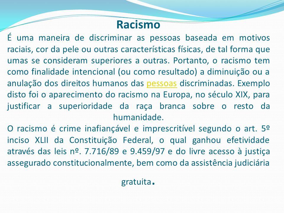 Racismo É uma maneira de discriminar as pessoas baseada em motivos raciais, cor da pele ou outras características físicas, de tal forma que umas se consideram superiores a outras.