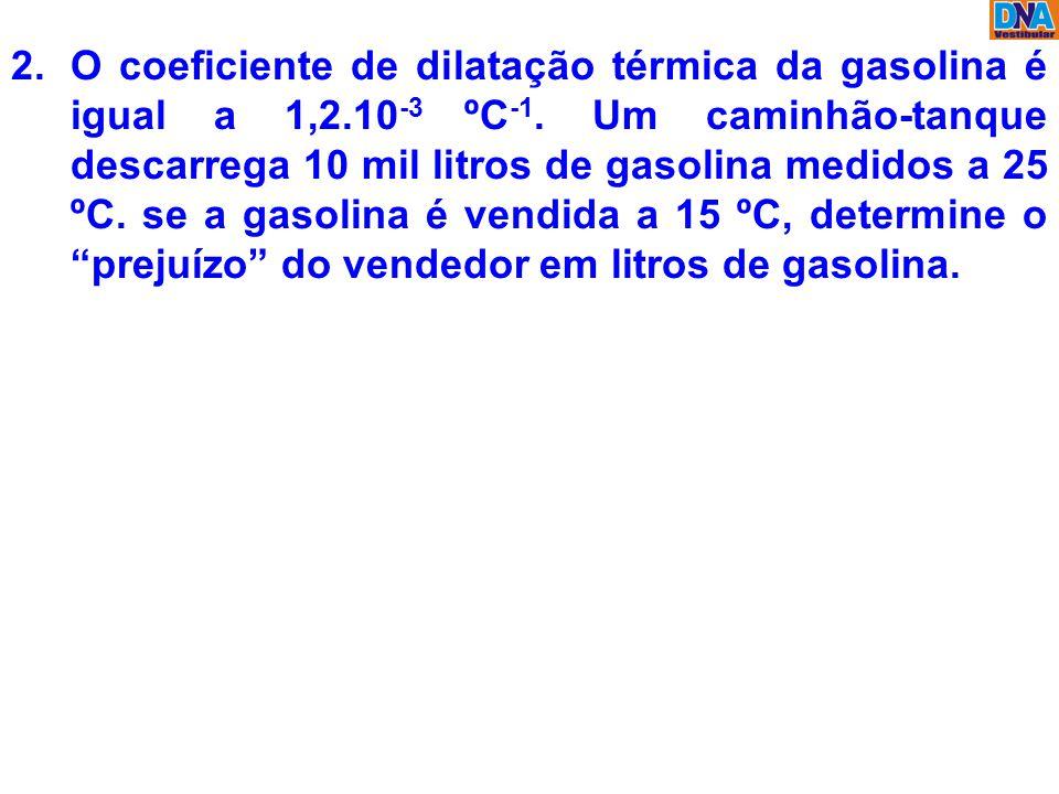 O coeficiente de dilatação térmica da gasolina é igual a 1,2.10-3 ºC-1.