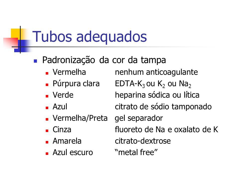 Tubos adequados Padronização da cor da tampa