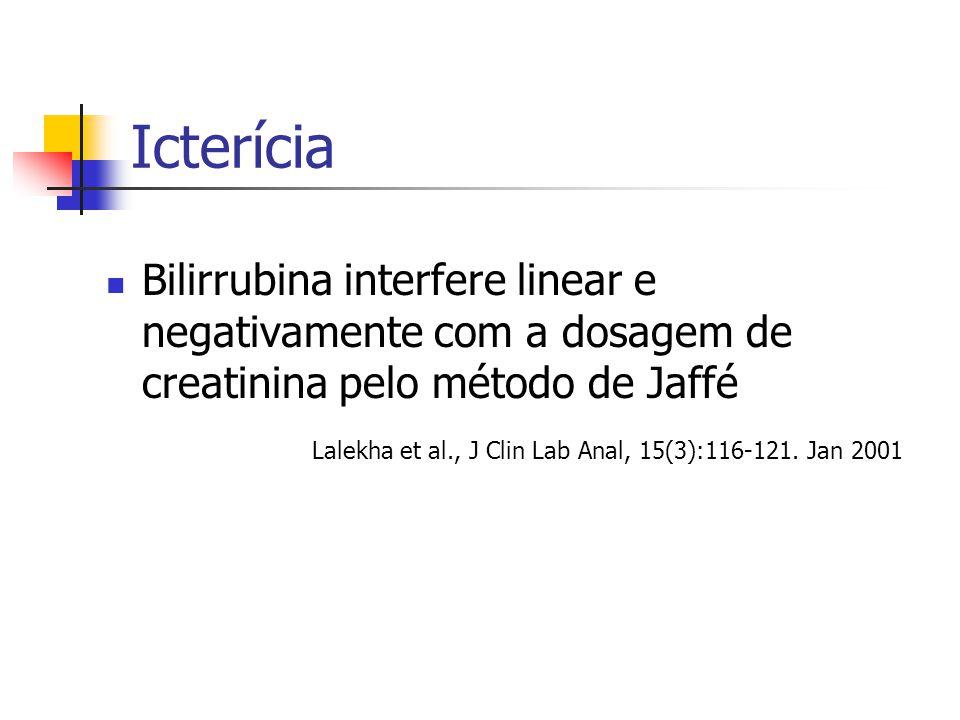 Icterícia Bilirrubina interfere linear e negativamente com a dosagem de creatinina pelo método de Jaffé.