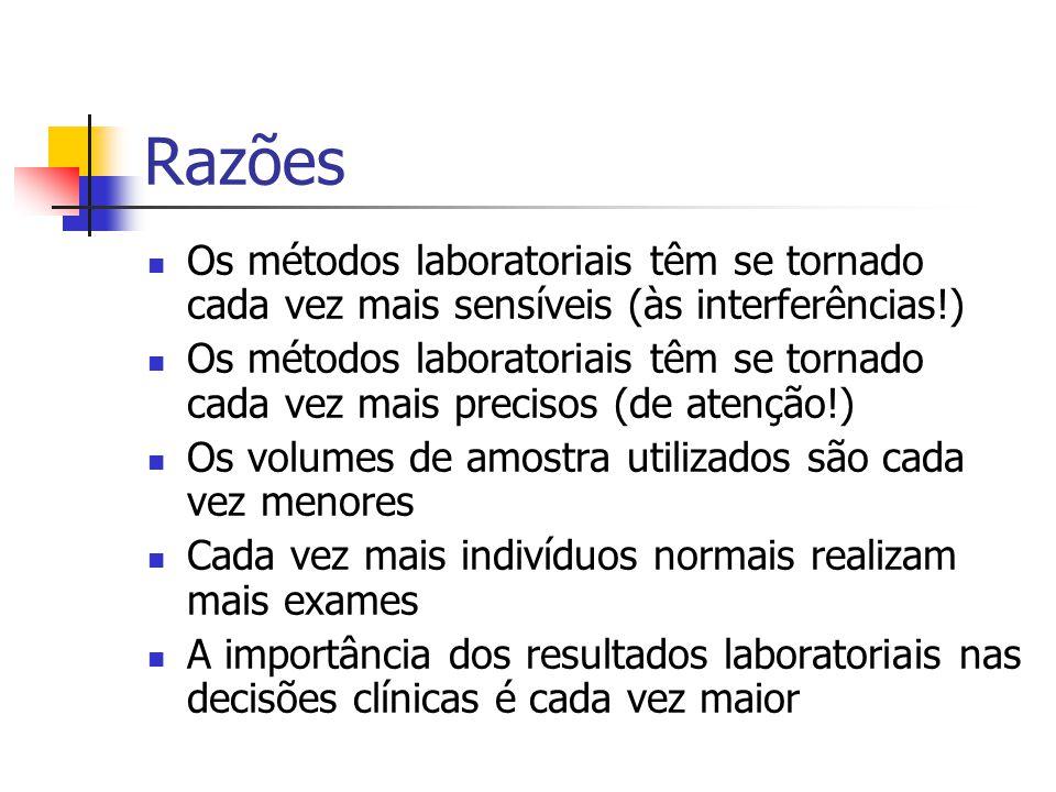 Razões Os métodos laboratoriais têm se tornado cada vez mais sensíveis (às interferências!)