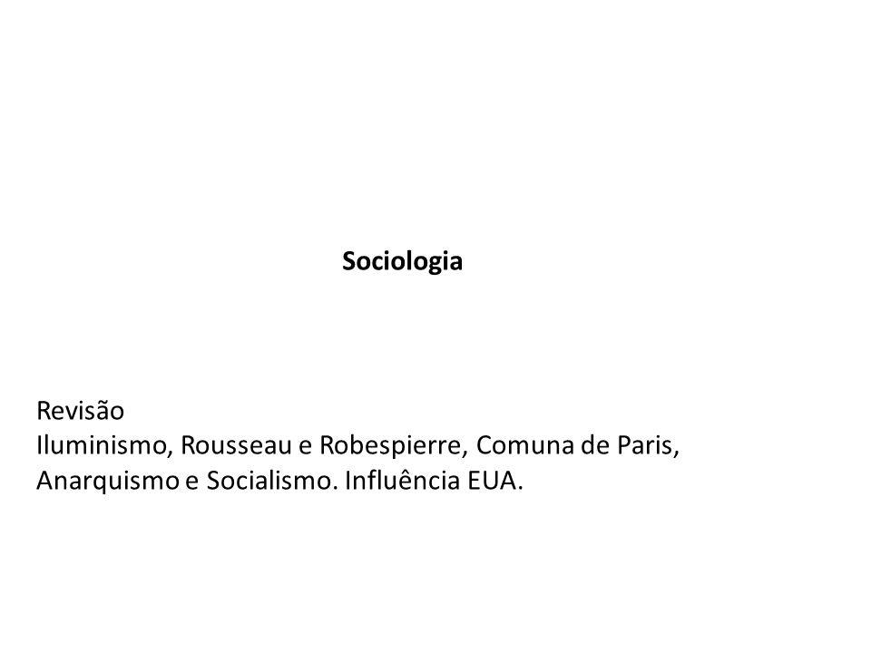 Sociologia Revisão. Iluminismo, Rousseau e Robespierre, Comuna de Paris, Anarquismo e Socialismo.