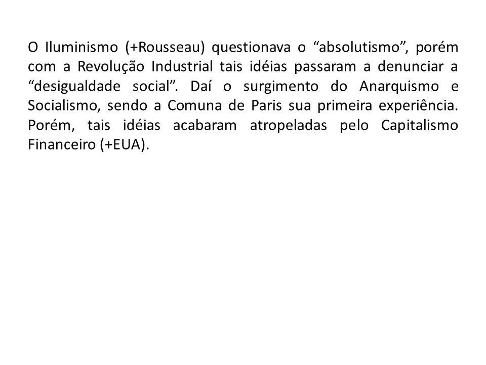 O Iluminismo (+Rousseau) questionava o absolutismo , porém com a Revolução Industrial tais idéias passaram a denunciar a desigualdade social .