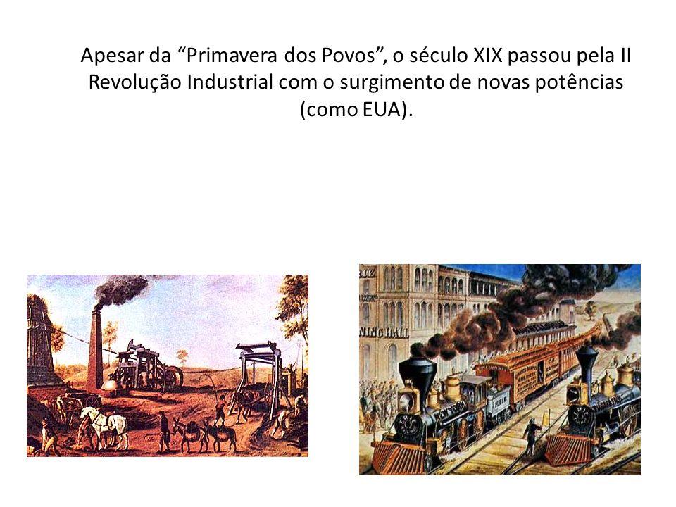 Apesar da Primavera dos Povos , o século XIX passou pela II Revolução Industrial com o surgimento de novas potências (como EUA).