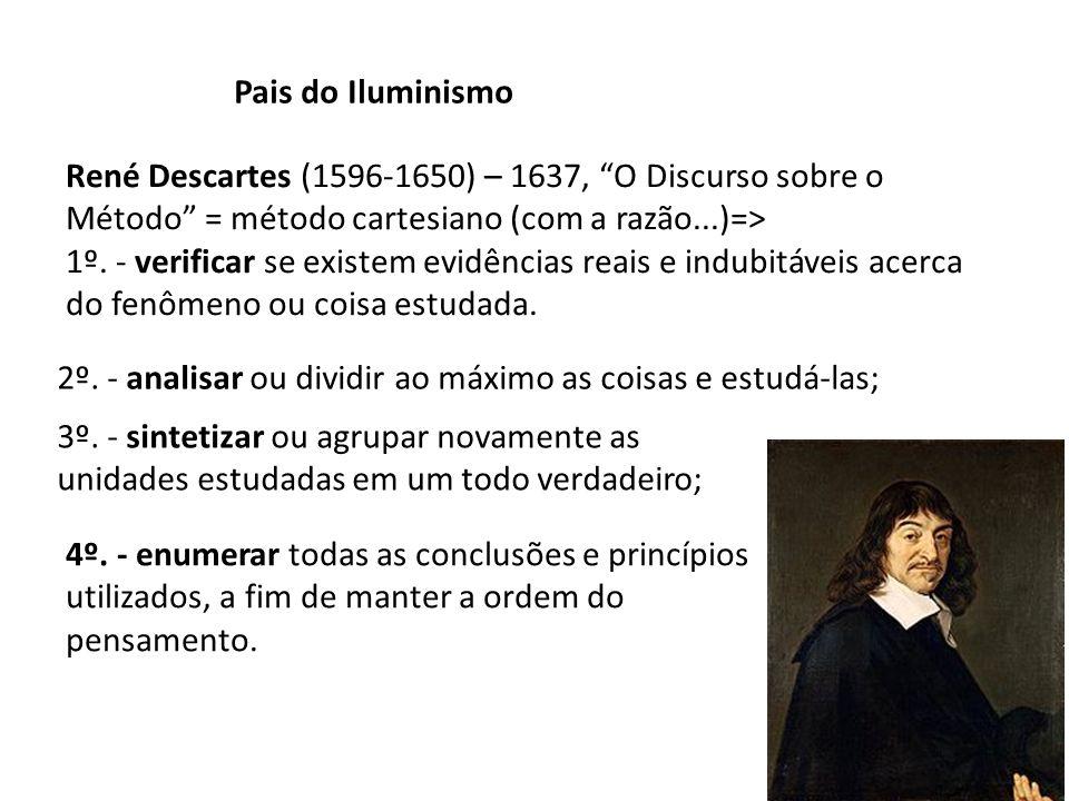 Pais do Iluminismo René Descartes (1596-1650) – 1637, O Discurso sobre o Método = método cartesiano (com a razão...)=>