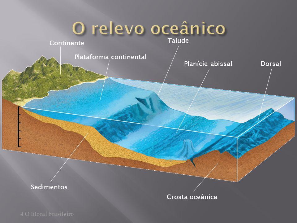 O relevo oceânico Talude Continente Plataforma continental