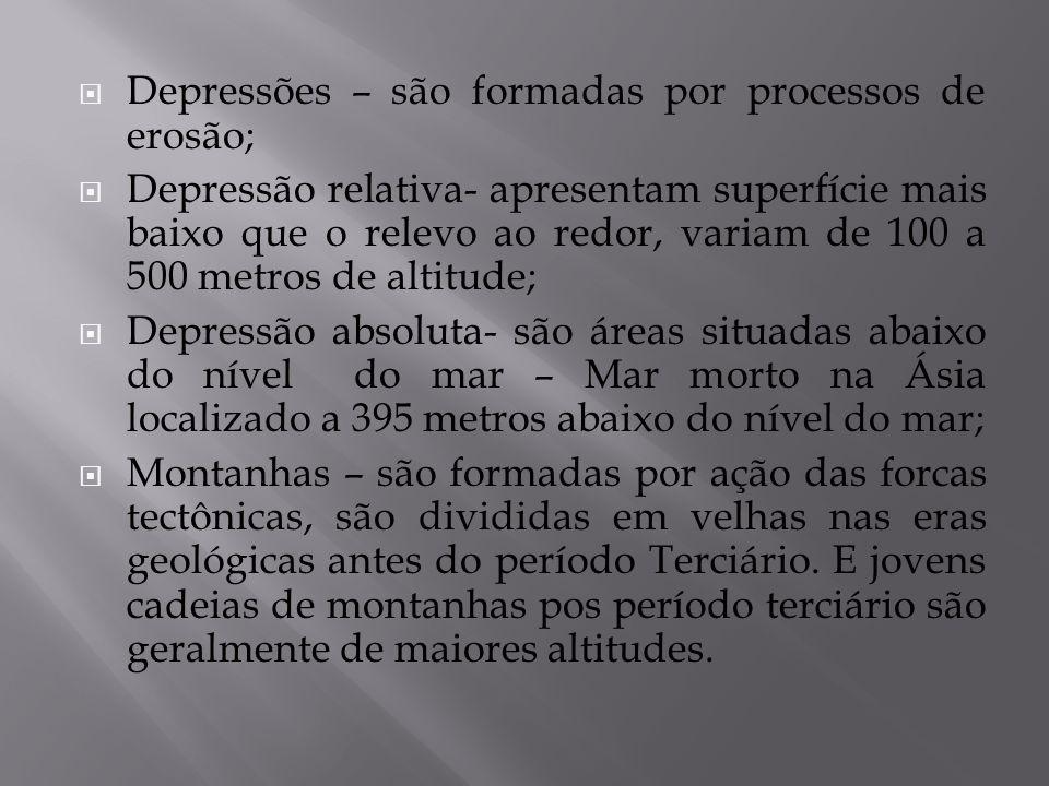 Depressões – são formadas por processos de erosão;