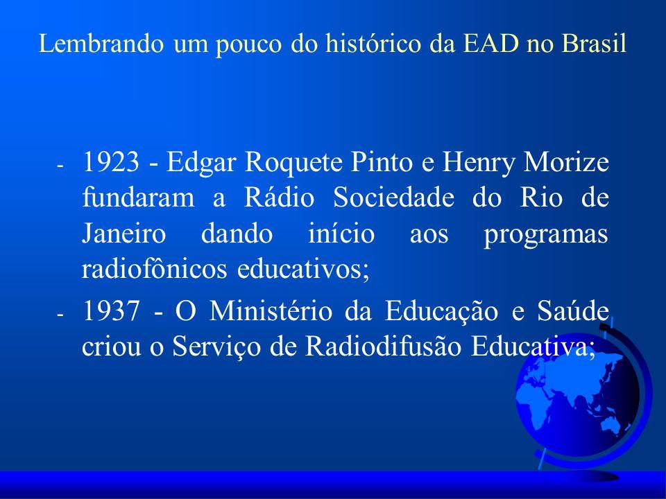 Lembrando um pouco do histórico da EAD no Brasil