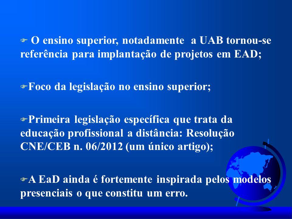 O ensino superior, notadamente a UAB tornou-se referência para implantação de projetos em EAD;