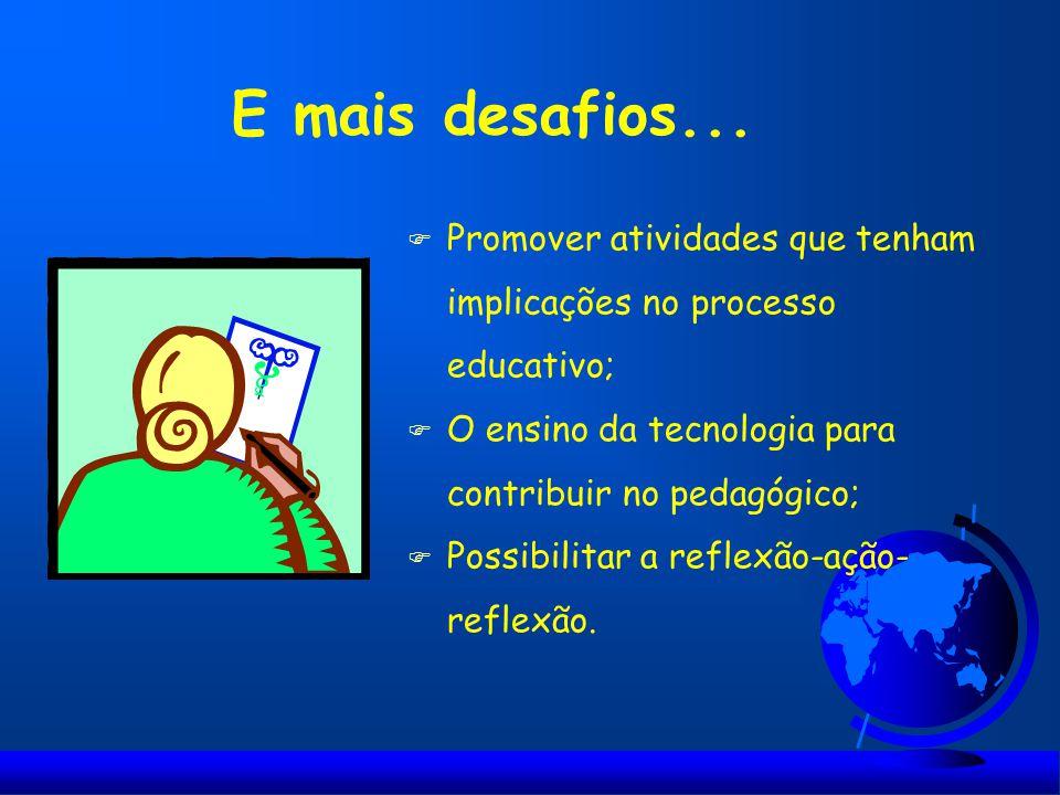 E mais desafios... Promover atividades que tenham implicações no processo educativo; O ensino da tecnologia para contribuir no pedagógico;