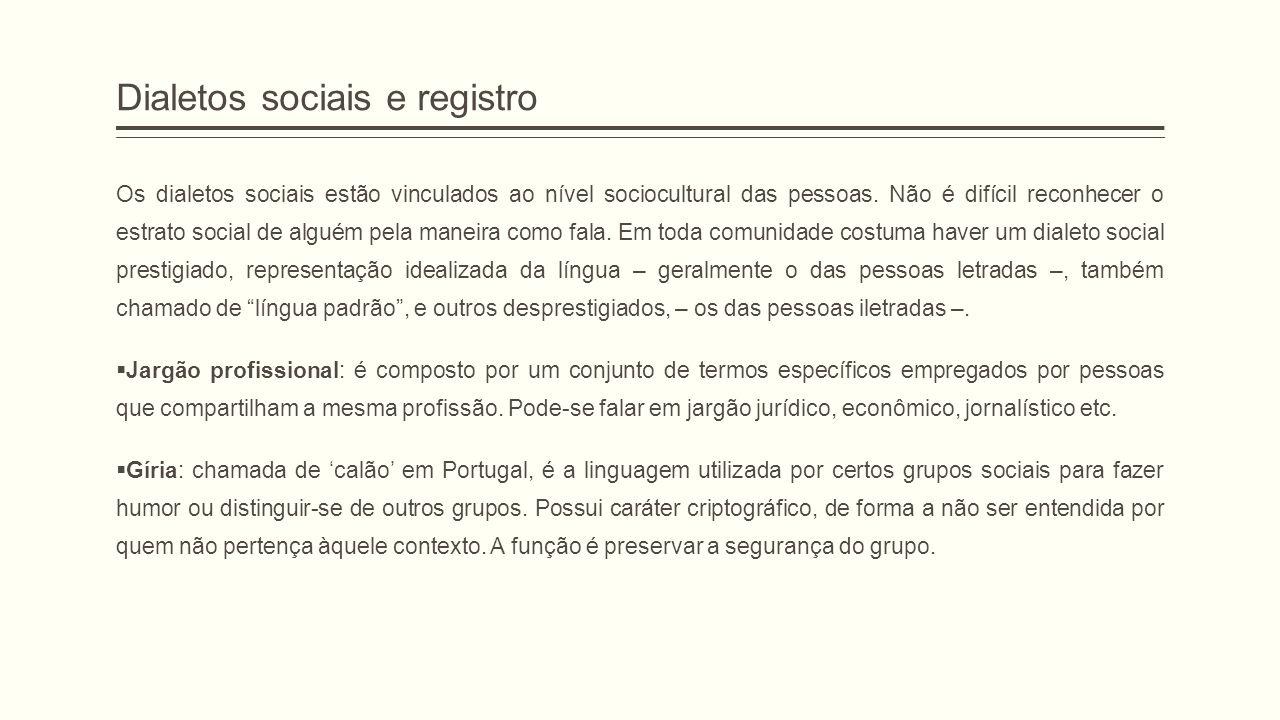 Dialetos sociais e registro