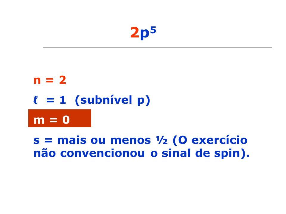 2p5n = 2.ℓ = 1 (subnível p) m = 0.
