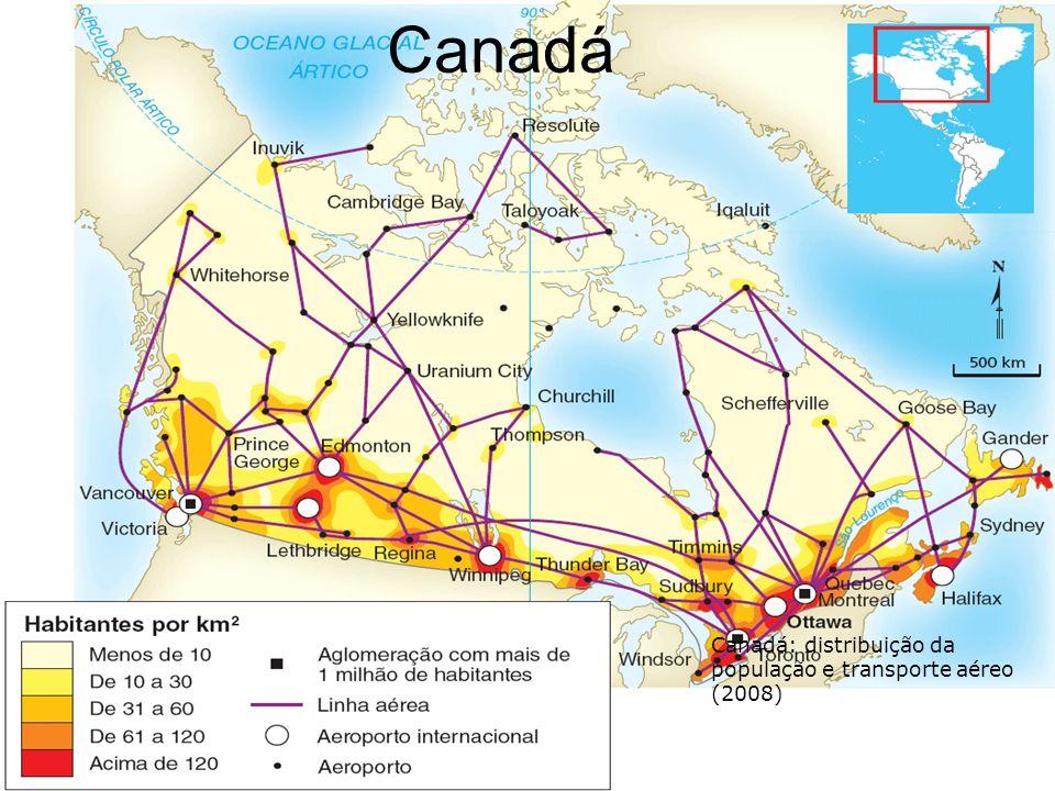 Canadá Canadá: distribuição da população e transporte aéreo (2008)