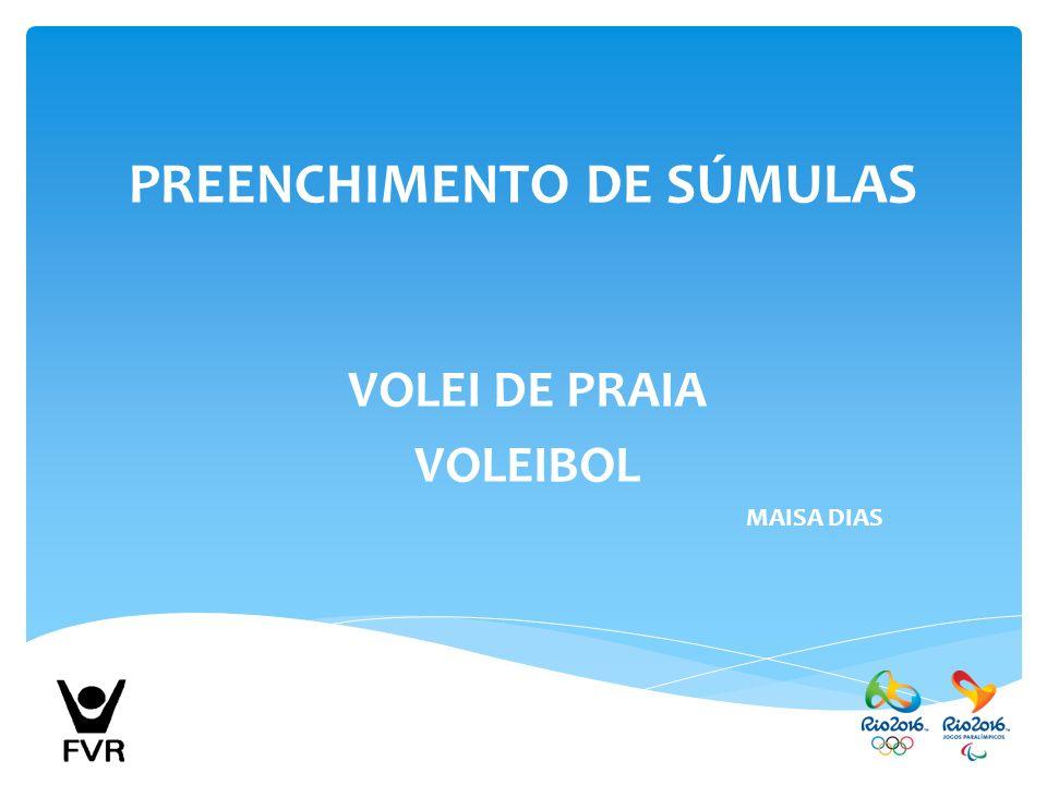PREENCHIMENTO DE SÚMULAS