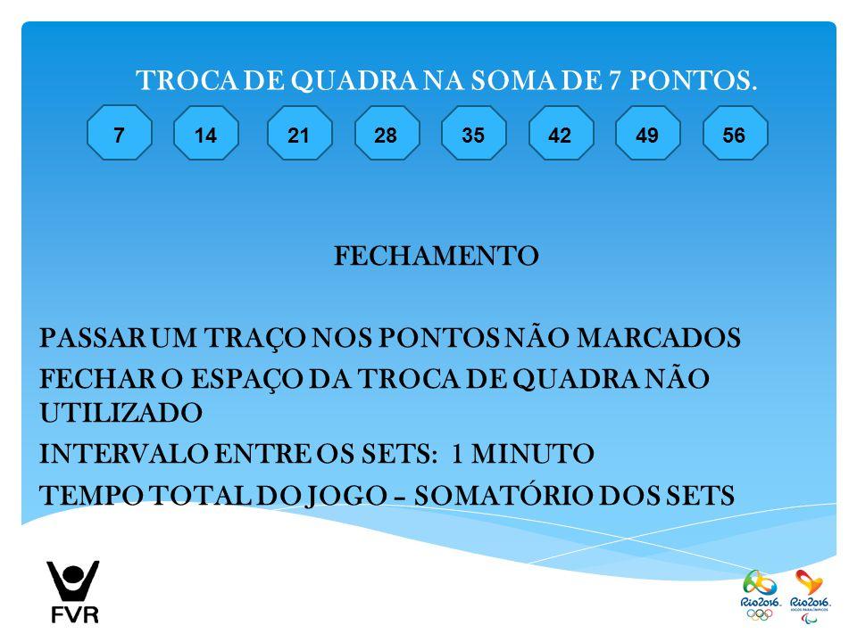 TROCA DE QUADRA NA SOMA DE 7 PONTOS.