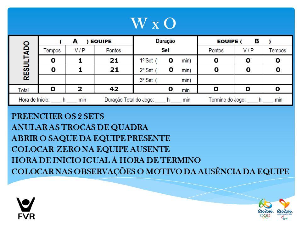 W x O PREENCHER OS 2 SETS ANULAR AS TROCAS DE QUADRA