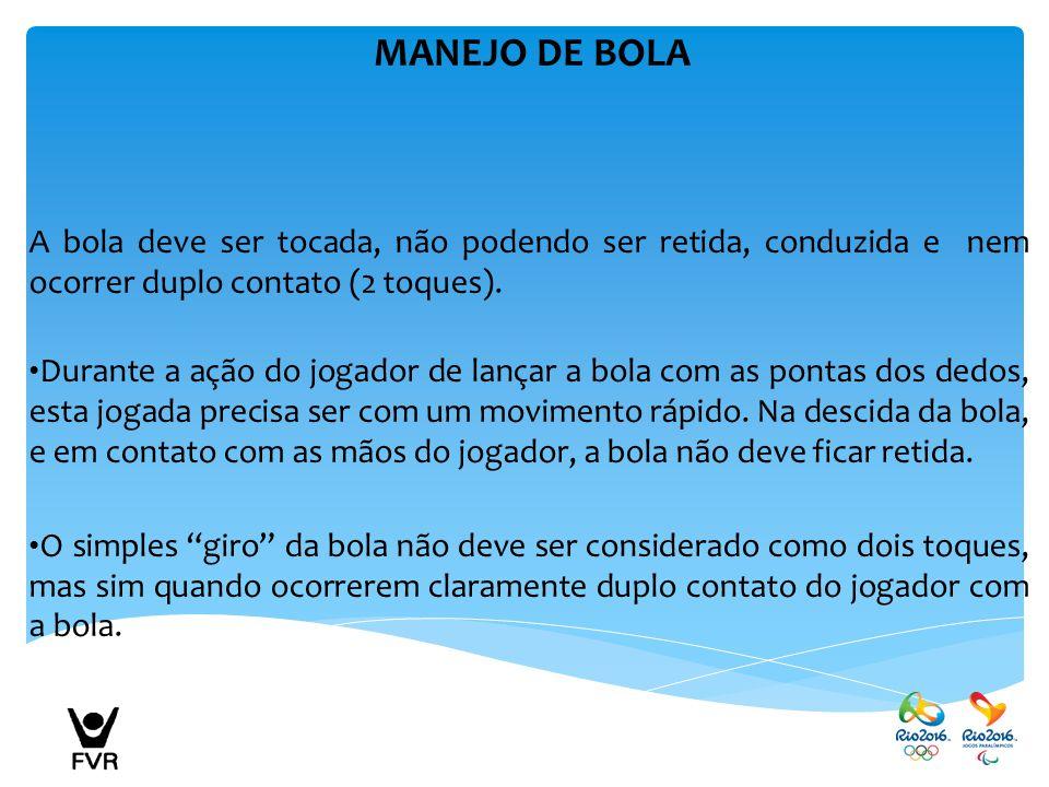 MANEJO DE BOLA A bola deve ser tocada, não podendo ser retida, conduzida e nem ocorrer duplo contato (2 toques).
