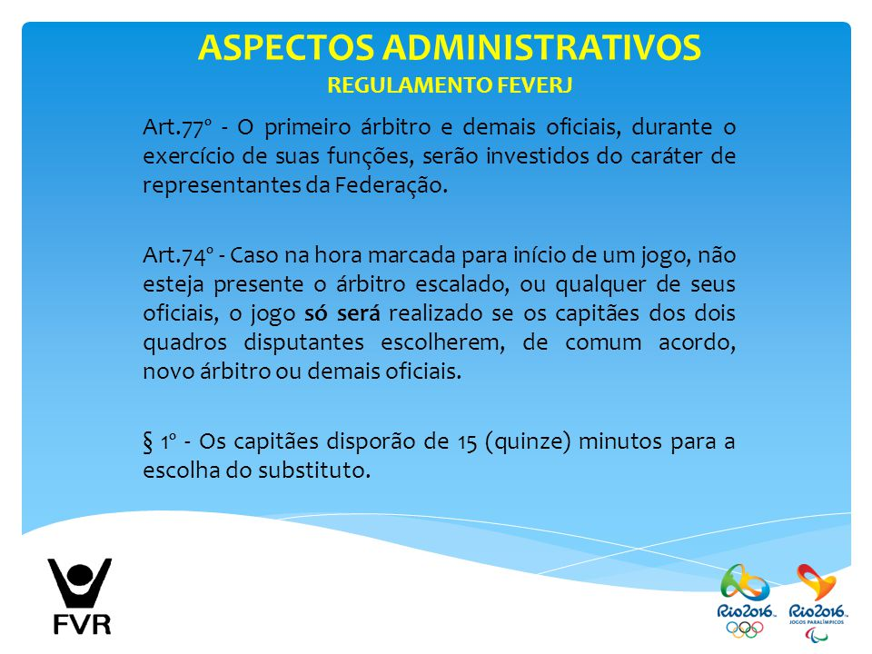ASPECTOS ADMINISTRATIVOS REGULAMENTO FEVERJ