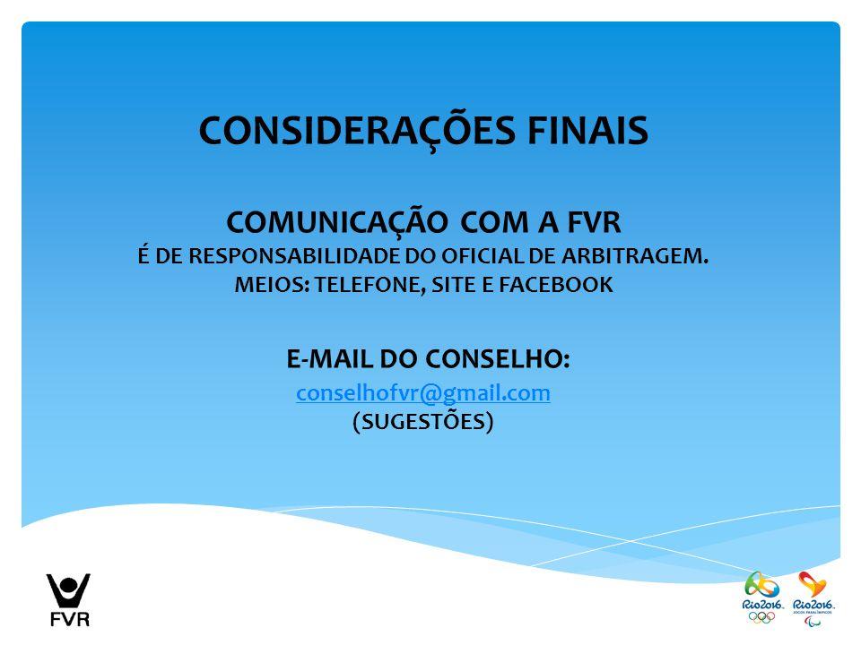 CONSIDERAÇÕES FINAIS E-MAIL DO CONSELHO: