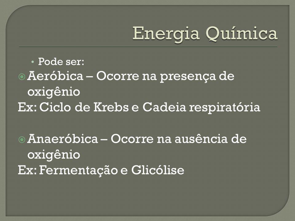 Energia Química Aeróbica – Ocorre na presença de oxigênio
