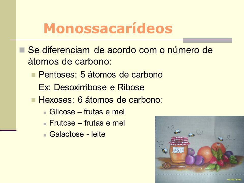 Monossacarídeos Se diferenciam de acordo com o número de átomos de carbono: Pentoses: 5 átomos de carbono.
