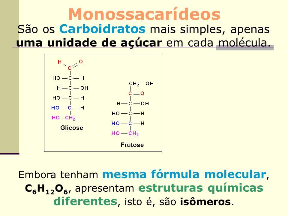 Monossacarídeos São os Carboidratos mais simples, apenas uma unidade de açúcar em cada molécula. Glicose.