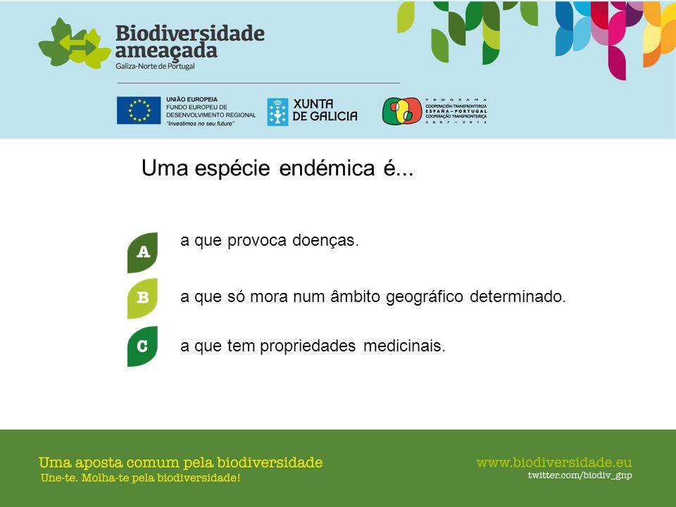 Uma espécie endémica é... a que provoca doenças.