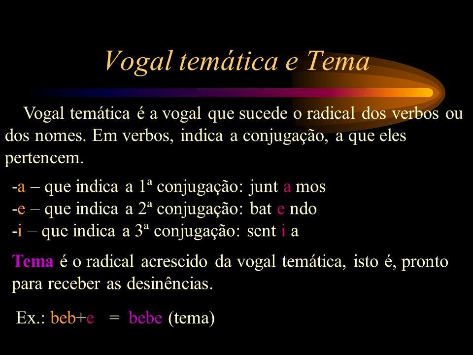 Vogal temática e Tema Vogal temática é a vogal que sucede o radical dos verbos ou dos nomes. Em verbos, indica a conjugação, a que eles pertencem.