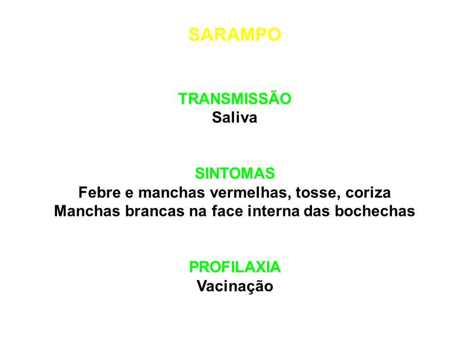 SARAMPO TRANSMISSÃO Saliva SINTOMAS
